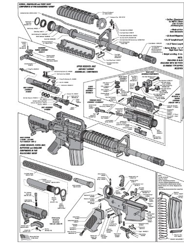 AR-15 DIAGRAM GLOSSY POSTER PICTURE PHOTO shoot guns rifles weapons - Part Diagram