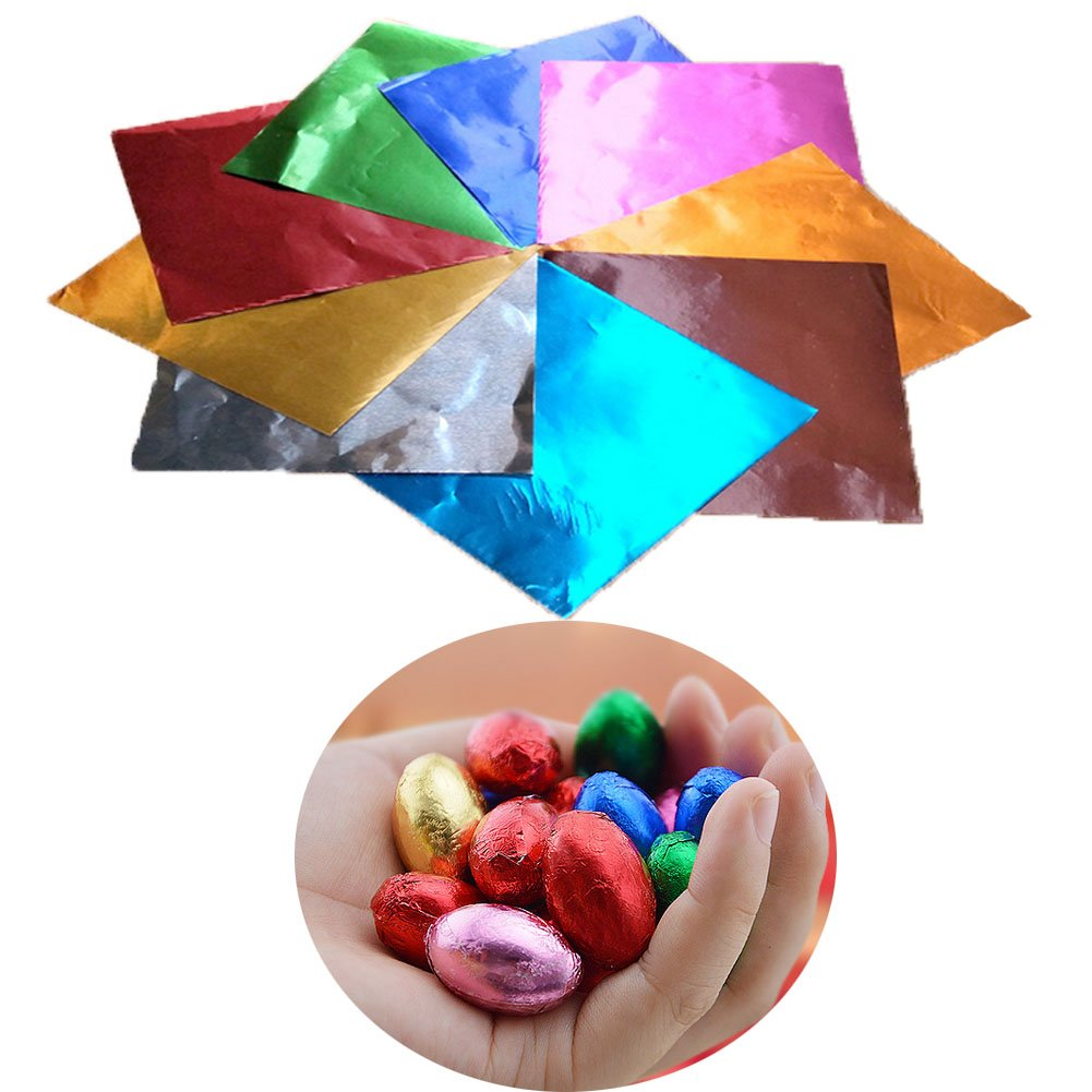 Sakolla 200pcs 4 Square Aluminium Foil Colour Wrapping Paper, beautiful Simple Easy Forming For Packaging Candies And Chocolate