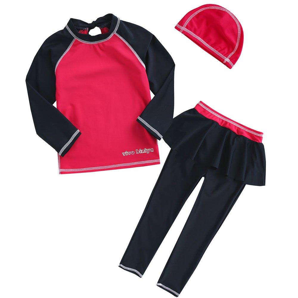 vivobiniya Kid Swimsuits Two-Piece Long Sleeve Swimwear Upf50 3-7T