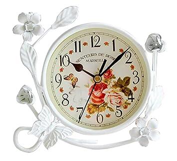 S.W.H Vintage Reloj de Mesa de Hierro Decoración de Hogar Salón Reloj Blanco Redondo con Flores Mariposa: Amazon.es: Hogar