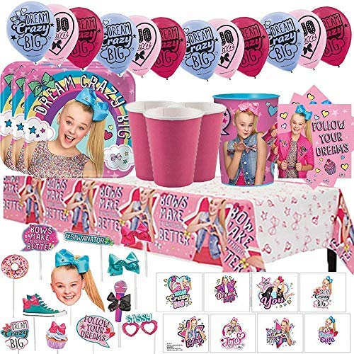 Another Dream JoJo Siwa MEGA Birthday Party Pack for 16 with Plates, Napkins, Cups, Tablecover, Favor Cup, Photo Props with Scene Setter, Tattoos, Balloons, and Birthday Pin! by Another Dream (Image #1)
