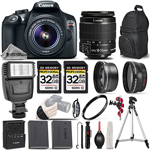 Cheap Canon EOS REBEL T6 DSLR Camera + Canon EF-S 18-55mm IS II Lens + Digital Camera Flash + 0.43X Wide Angle Lens + 2.2x Telephoto HD Lens – All Original Accessories Included – International Version