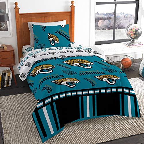 (The Northwest Company NFL Jacksonville Jaguars Twin Bed in a Bag Complete Bedding Set #766471219 )