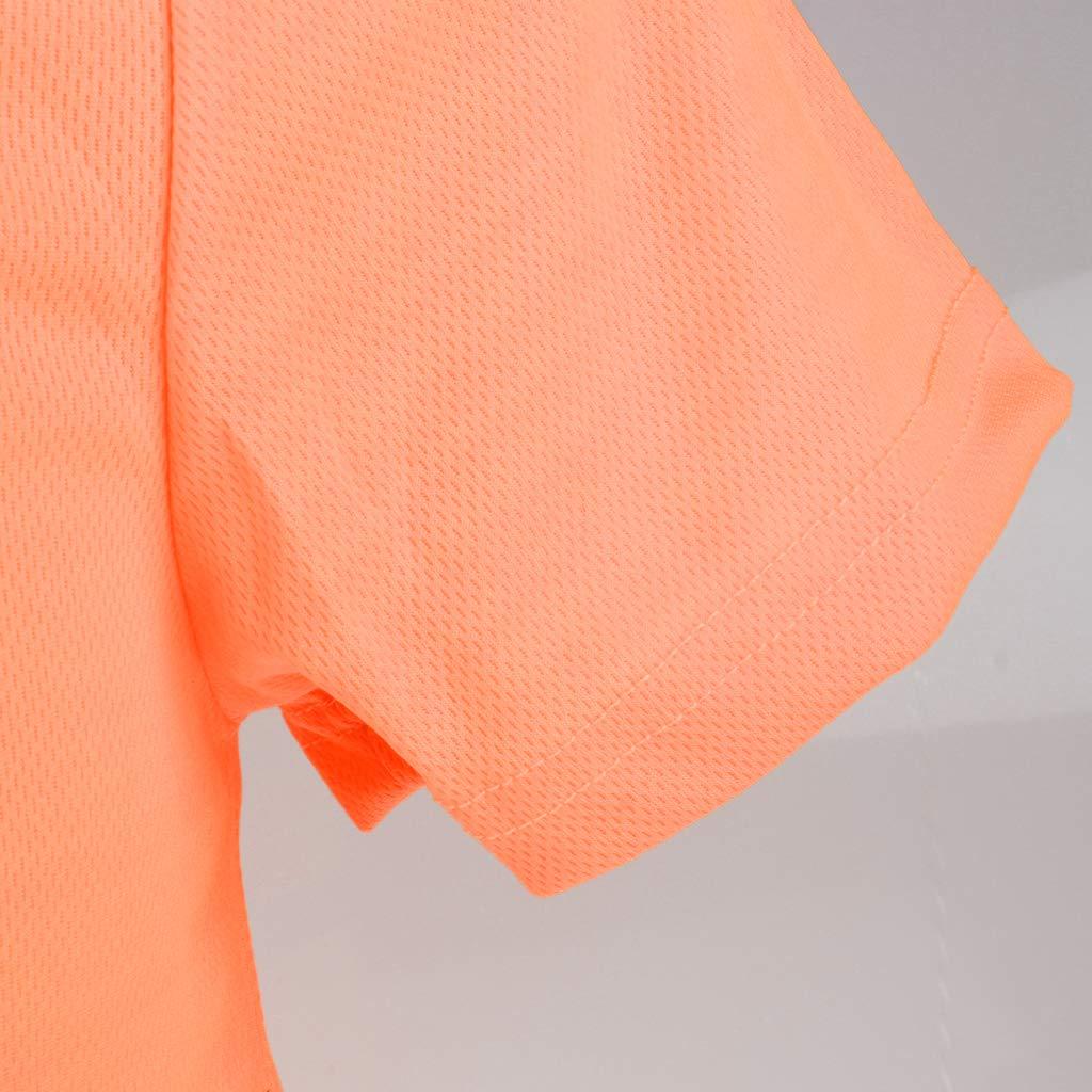 Giallo L perfk Maglietta Riflettente Di Sicurezza Manica Corta Ad Alta Visibilit/à Rapida Asciutta T Shirt Vestiti