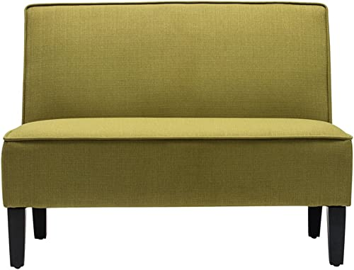 Cushioned Linen Armless Settee Loveseat Sofa Couch Home Casual Living Room Recliner Green