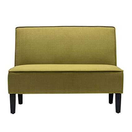 Changjie Cushioned Linen Armless Settee Loveseat Sofa Couch Home Casual  Living Room Recliner (Green)