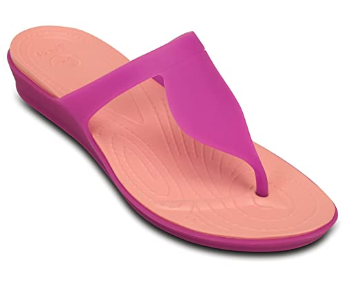 82868bad3008 crocs Women s Rio W Vibrant Violet and Melon Fashion Flip-Flops and House  Slippers -