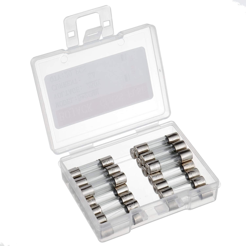 paquet de 20 pi/èces BOJACK F5AL250V 5x20 mm 5A 250V Fusibles /à fusion rapide 5 Amp/ère 250 Volt 0.2 x 0,78 pouce Fusibles /à tube de verre