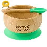 Baby Suction Bowl and Spoon Set, Stay Put Feeding Toddler Baby Bowls, Natural Bamboo