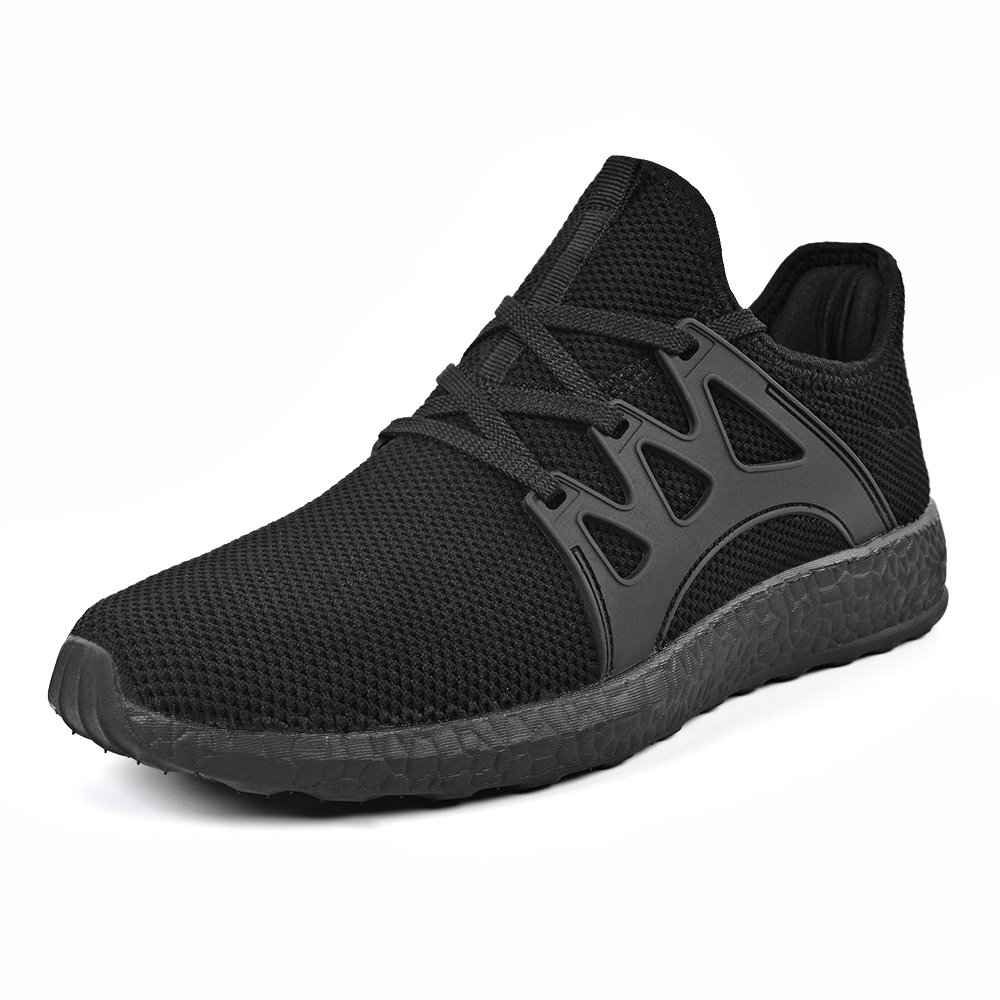 Mxson Men's Casual Sneakers Ultra Lightweight Breathable Mesh Sport Walking Running Shoes, Black, 10 D(M) US by Mxson
