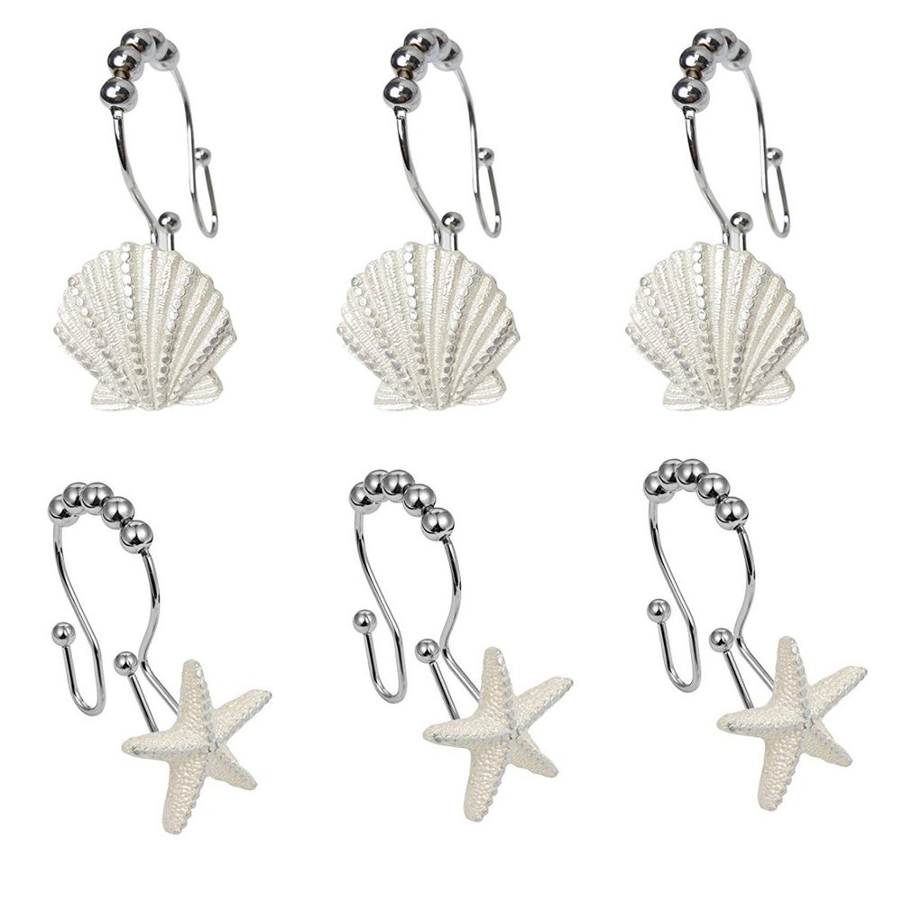 Malicosmile Seashell Shower Curtain Hooks, Rustproof White Shell Starfish Curtain Rings Hooks for Bathroom Set of 12pcs M55