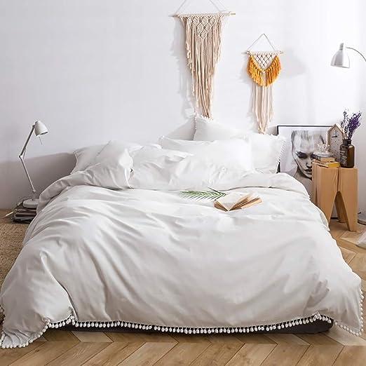4pcs Juego de edredón de algodón blanco 100% Fundas de cama ...
