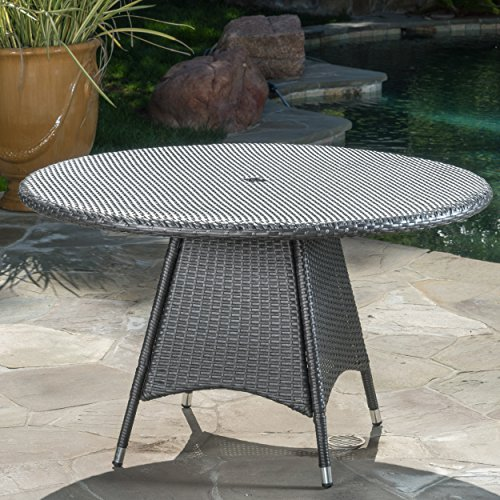 Christopher Knight Home 300562 Colonial Outdoor Grey Wicker Round Dining Table