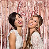 UTOPP 2 Pack Rose Gold Foil Fringe Curtains Photo Backdrop, 3ft x 8 ft Shiny Metallic Tinsel Party Door Curtain photo booth props for Birthday Wedding Bridal Baby Shower Party Decorations