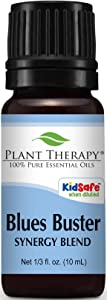 Plant Therapy Blues Buster Synergy Essential Oil Blend. 100% Pure, Undiluted, Therapeutic Grade. Blend of: Tangerine, Geranium and Grapefruit. 10 ml (1/3 oz).