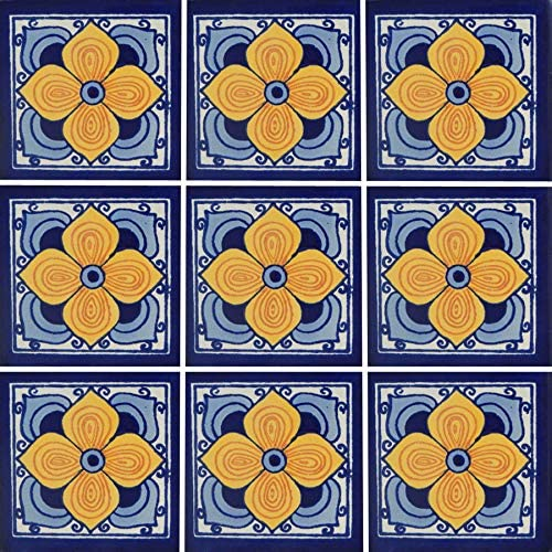 Color y Tradicion 9 Mexican Tiles 4 x 4 Hand Painted Talavera C115