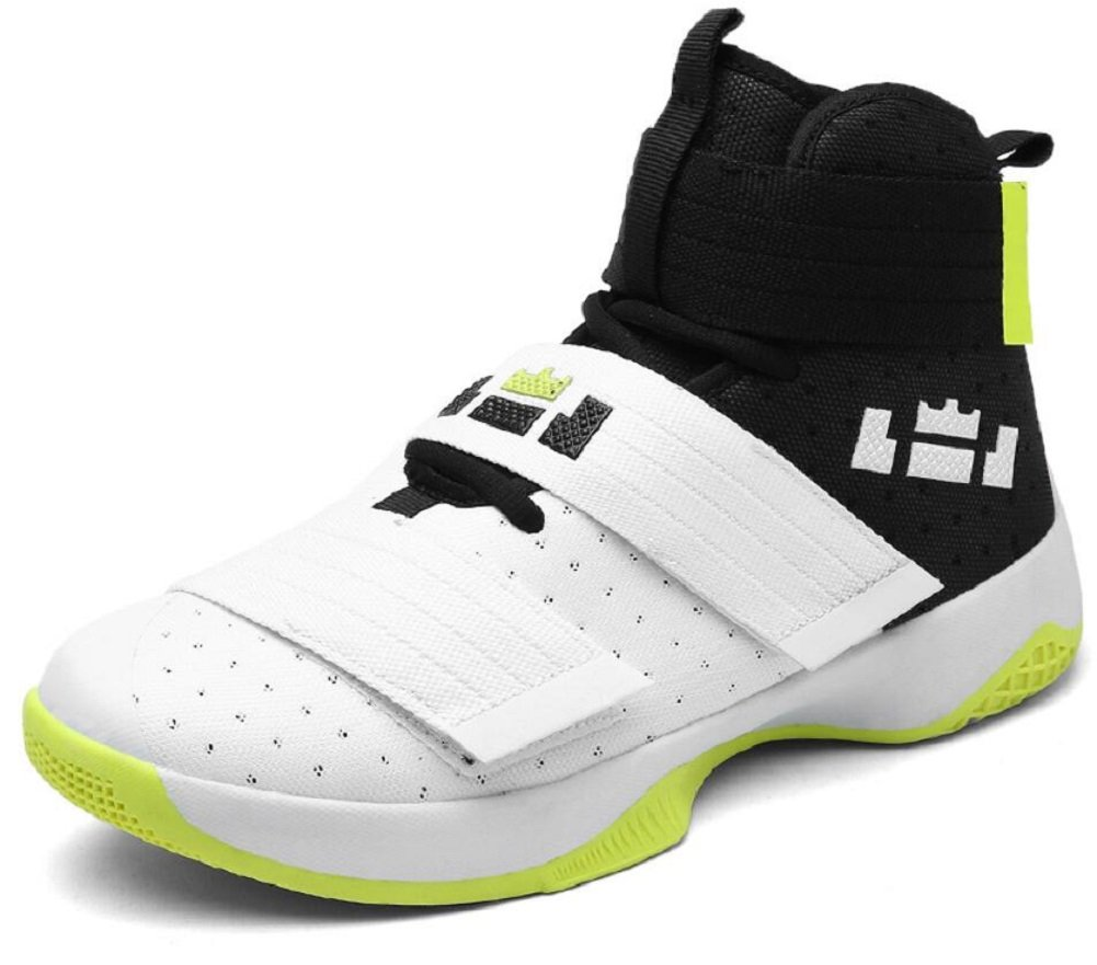 JiYe Men's Basketball Shoes for Women's Performance Sports Velcro Sneakers by B073Y5BQSM 10 US-Women/8.5 US-Men/Foot Length 26CM|White Green