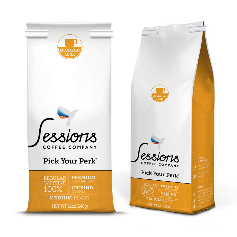 Regular Caffeine 100% Caf, Sessions Ground Coffee, Double Pack, 24 Oz. total