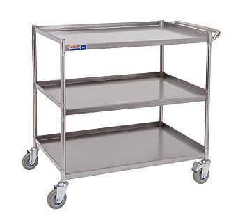 Carrito de acero inoxidable - construcción robusta - 840 x ...