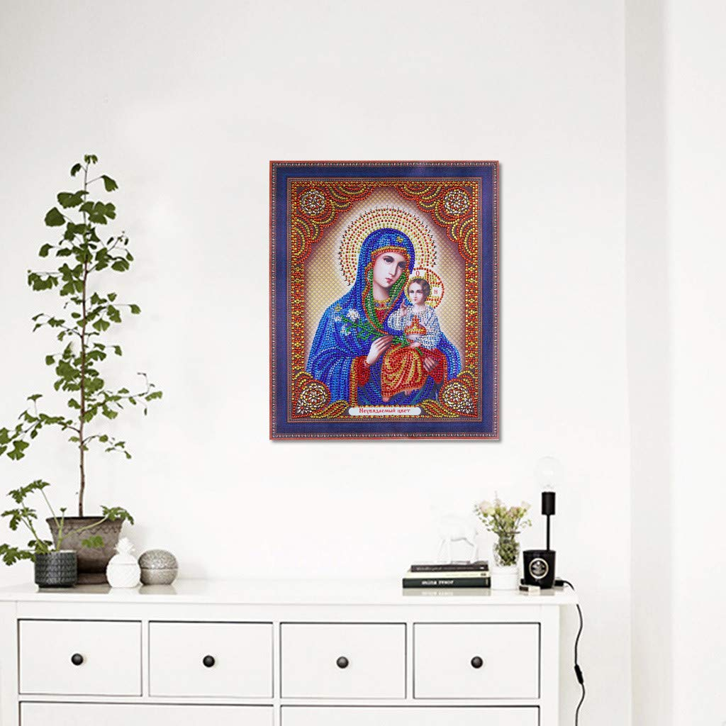 DIY 5D Diamond Painting Religious Partial Drill Rhinestone Embroidery Dotz Cross Stitch by Number Kit Home Wall Decor for Adults Kids Beginner (A) by Codiak-Decor (Image #2)