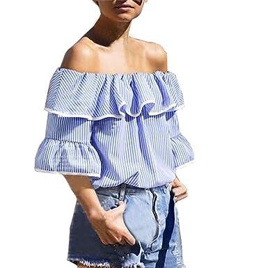 26d54bdf4e69 Malbaba Plus Size Slash Neck Falbala Ruffle Top Stripe Overlay Blouse Off  Shoulder Shirt for Women