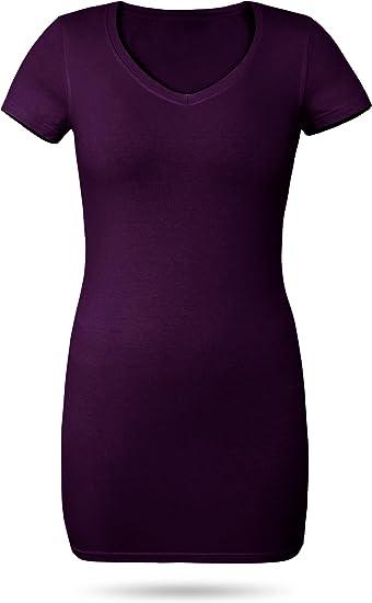 5755a2c16fcf normani Figurbetontes Longshirt mit V-Ausschnitt - von XS bis 3XL Farbe  Burgund Größe 3XL