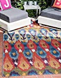 Unique Loom Outdoor Collection Colorful Abstract Transitional Indoor and Outdoor Multi Area Rug (4′ x 6′)