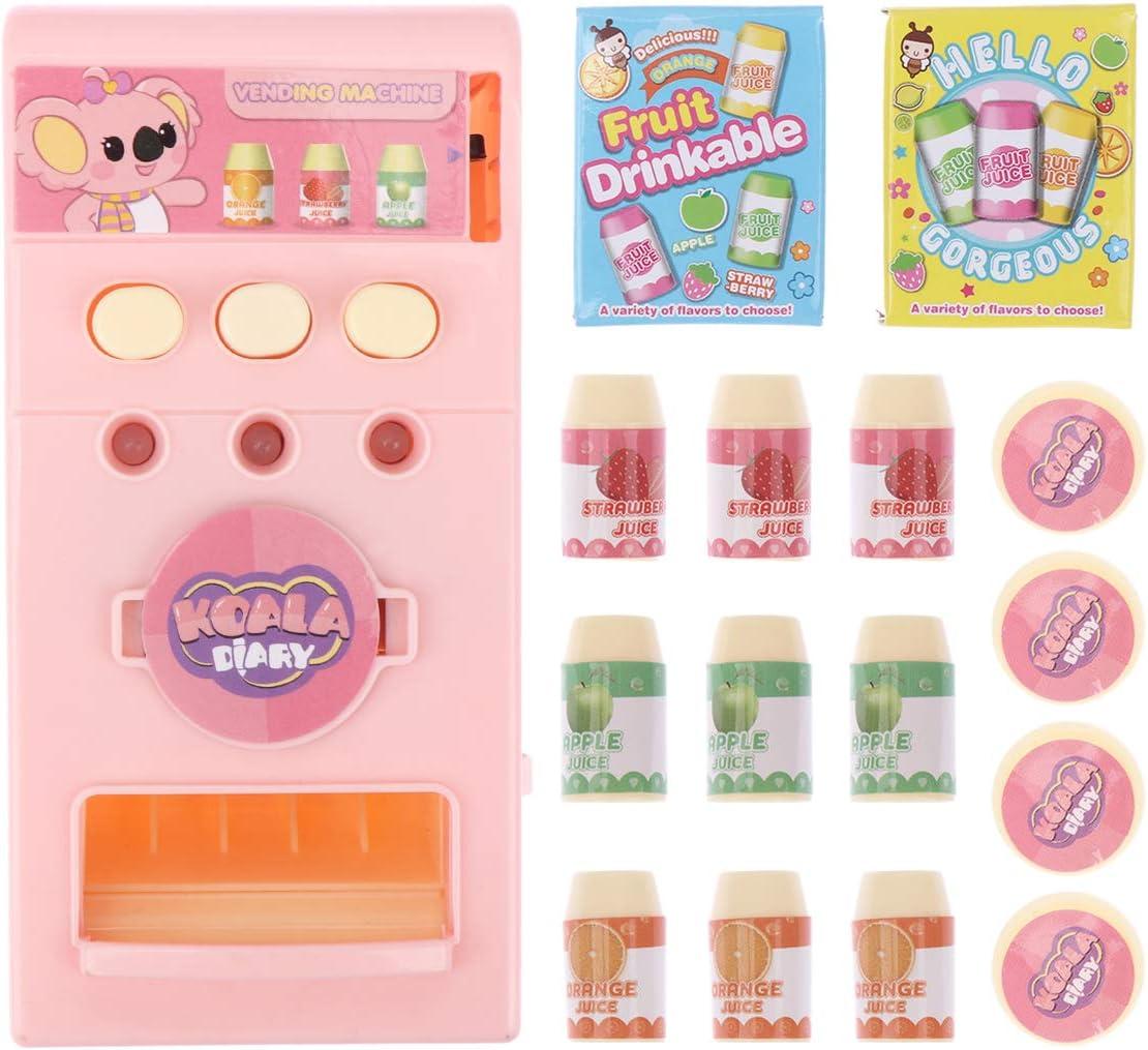 NUOBESTY Máquina Expendedora Juguetes Máquinas de Bebidas Electrónicas Educación para Niños Juguetes de Aprendizaje Juego de Compras Juguetes Regalos de Cumpleaños para Niños Niñas Rosa (Sin Batería)