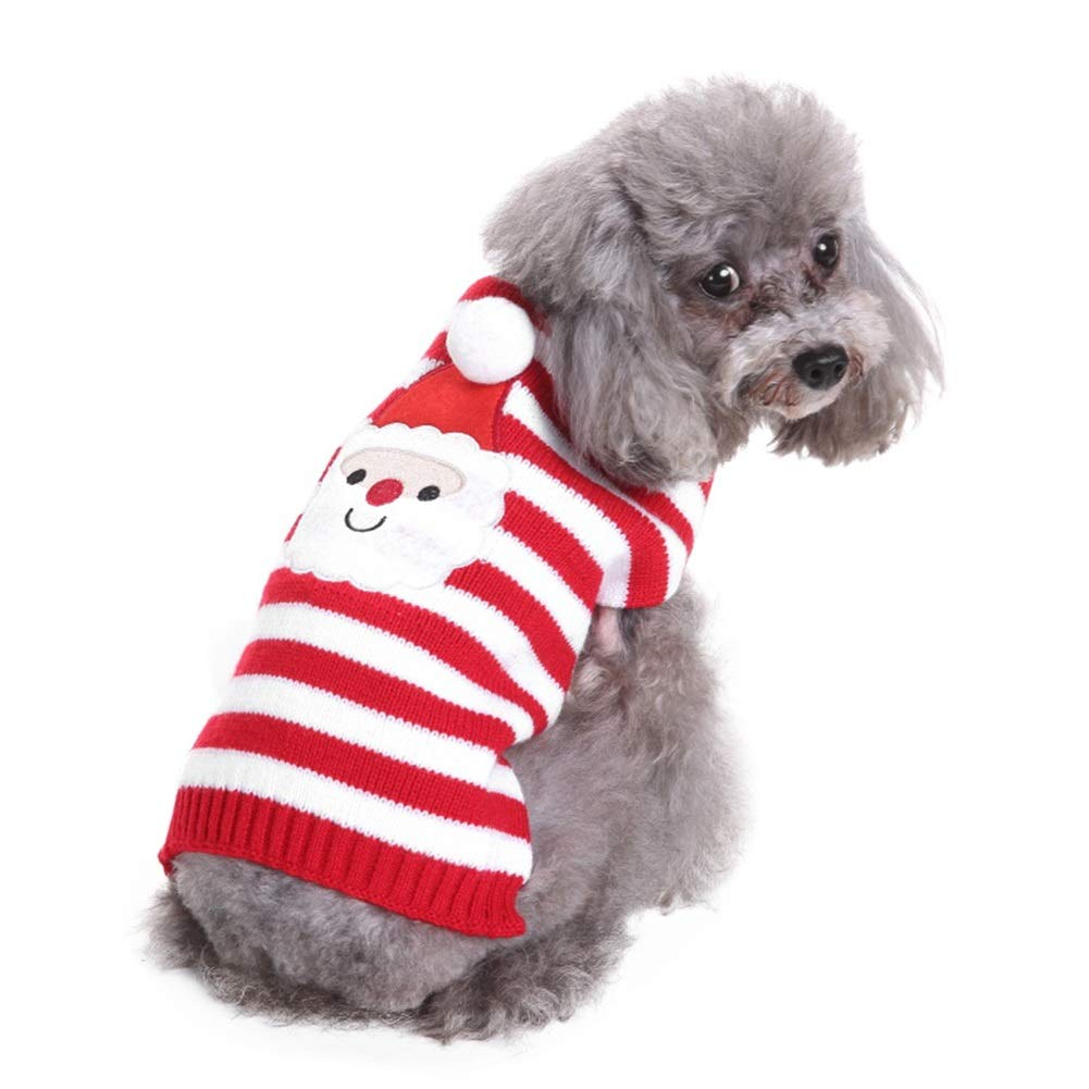 L ROZKITCH Cute Santa Pet Dog Christmas Knitted Sweater Pet Holiday Festive Christmas Collections Winter Sweatshirt Clothes Warm Knitwear Dogs Puppy Kitten Cats, Classic Red