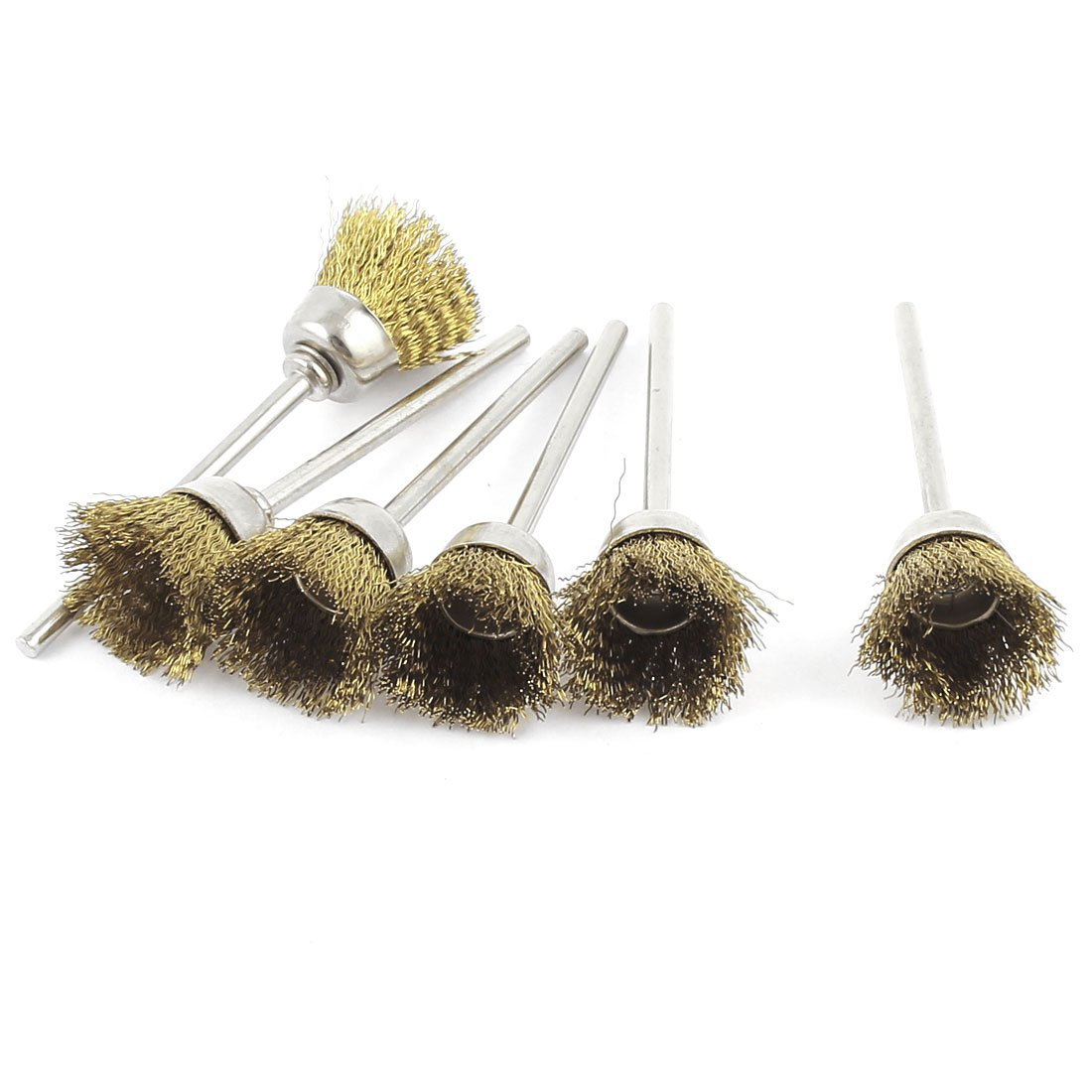 6 Pcs 2.3mm Shank 15mm Cup Shape Brass Wire Polishing Brush