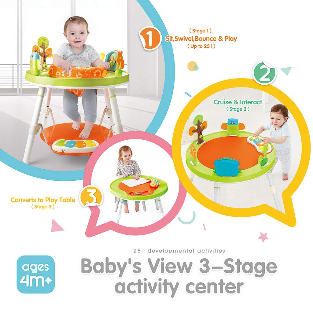 Washable Seat Cushion by Machine Great for 4,6,9,12,24,36 Months Toddler Multicolour 3-in-1 Jump Gym for Baby 360-degree Rotating Seat 3-Stage Interactive Activity Center W// 5 Fun Toys /& Music