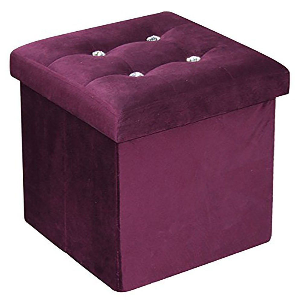 Home Basics Ottoman with Stones, Black FS01662