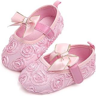 Aorme Pink/White Baby-Girls Christening Baptism Shoes Toddler Sneaker Slipper Flower