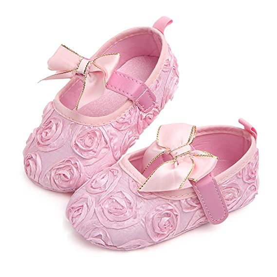 d7ae0fc857537 Aorme Pink/White Baby-Girls Christening Baptism Shoes Toddler ...
