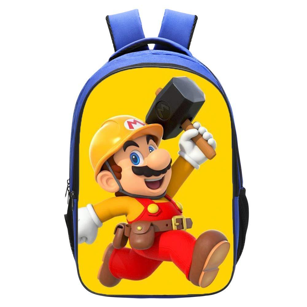 Qushy Super Mario Maker Backpack Schoolbag Bookbag Daypack Blue Bag (d)