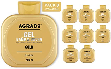 Gel Baño y Ducha Gold Agrado 750 ml - Pack de 8 unidades: Amazon.es: Belleza