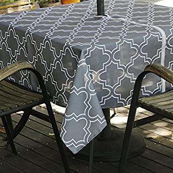 Eforcurtain Square 60x60Inch Umbrella Table Cover With Zipper Modern  Moroccan Tablecloth Spillproof Fabric For Outdoor Patio