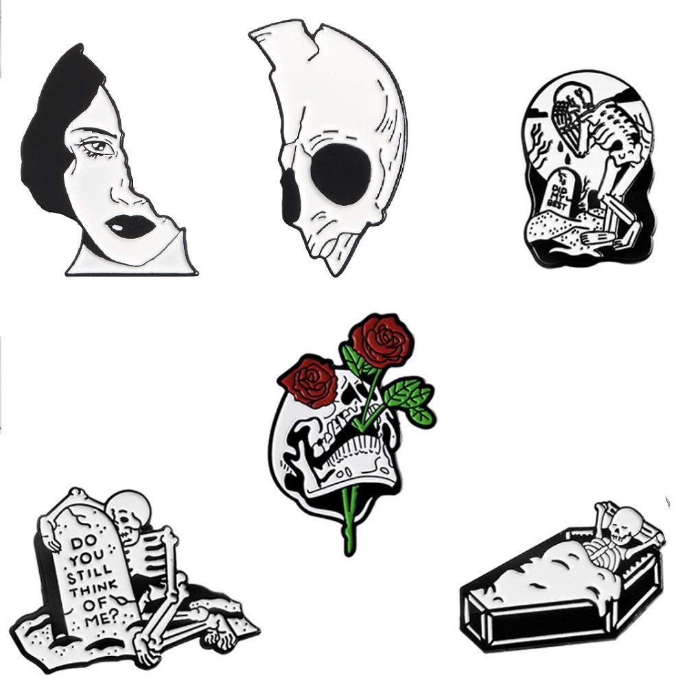CheeseandU 6Pack Halloween Hourglass Enamel Pin Ghost Skeleton Fish Tank Skull Hug Cat Purple Hooded Skull Witch Brooch Pins For Backpack Shirt Bag Accessory Holiday Party Friends Women Men Gift