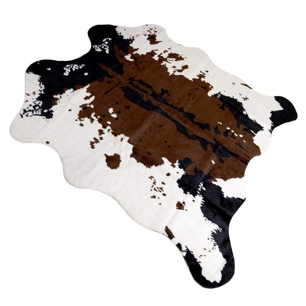 Faux Cowhide Rug, Cow Print Rug Area Rug Carpet, Stylish Home Decor Carpet for Bedroom Floor Living Room-160x140cm Leegoal