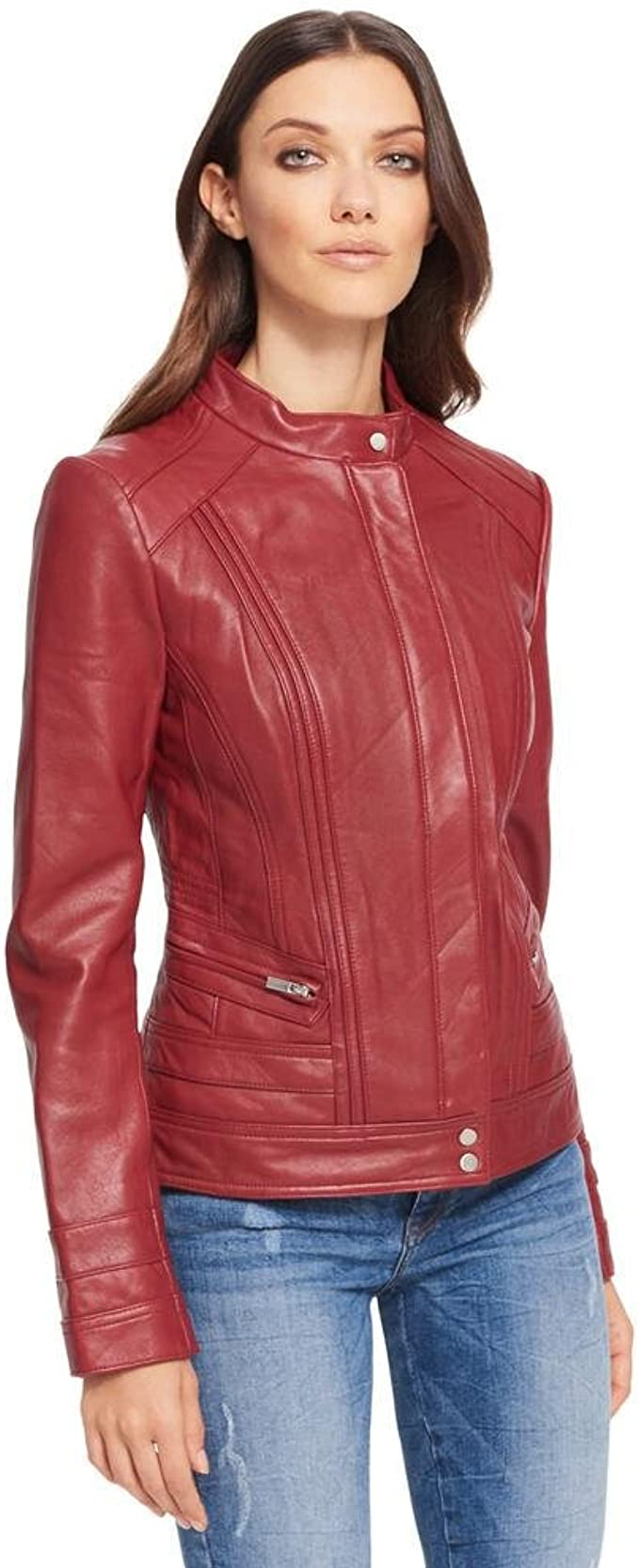 Ladies Real Leather Jacket Lamb Bright color Waist length Women Summer jacket