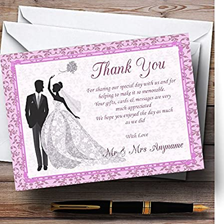 Pink Classic Vintage Personalized Wedding Thank You Cards