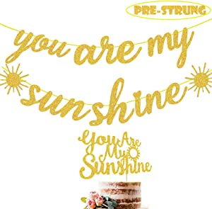 Sunshine 1st Birthday Party Supplies Gold Glittery You Are My Sunshine Banner Cake Topper Sun Smile Face/Sunflower/My Only Sunshine Boys First Birthday Baby Shower Party Supplies Decorations