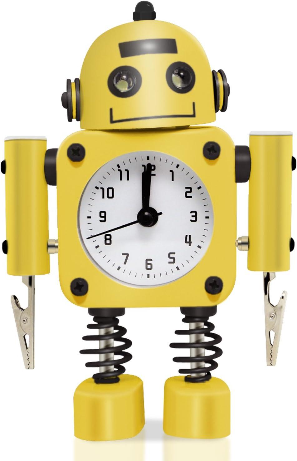 Betus Réveil Robot Non-Ticking en métal antirouille - réveil avec Yeux Clignotants et Clip à Main (Jaune)