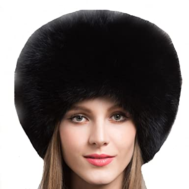 63401fc1e358c Valpeak Women s Genuine Fox Fur Hat with Tail Russian Style Protect Ears  Winter Mongolian Hats (