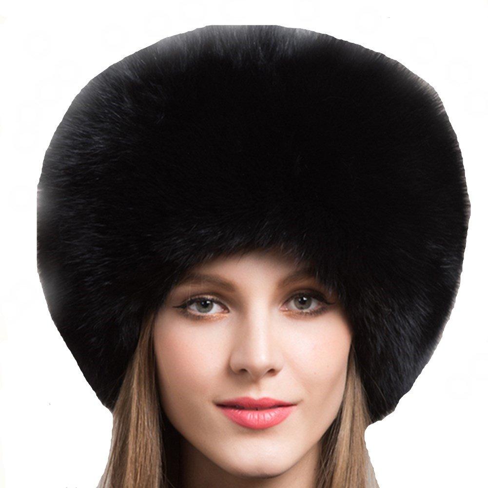 Valpeak Women's Genuine Fox Fur Hat with Tail Russian Style Protect Ears Winter Mongolian Hats (Black)
