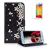 Funyye 3D Pearl Rhinestone Glitter Case for Samsung Galaxy J7 2018,Black Bling Diamond Lucky Flower Magnetic Flip Wallet Cover with Stand Credit Card Silicone PU Leather Case for Samsung Galaxy J7 2018,Shockproof Non Slip Full Body Protection Case for Samsung Galaxy J7 2018 + 1 x Free Screen Protector