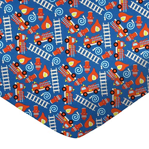 SheetWorld 100% Cotton Percale Fitted Crib Toddler Sheet 28 x 52, Fire Trucks Blue, Made in USA