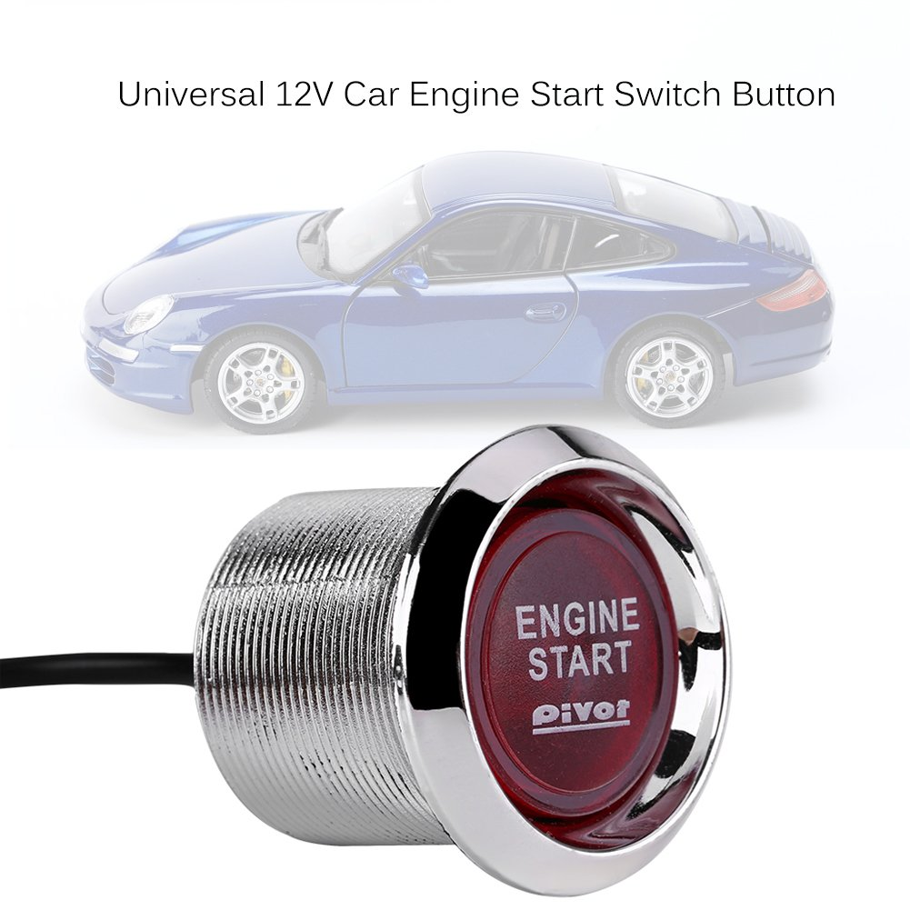 Red Qiilu Universal 12V Car Vehicle Engine Start Push Button Switch Ignition Starter