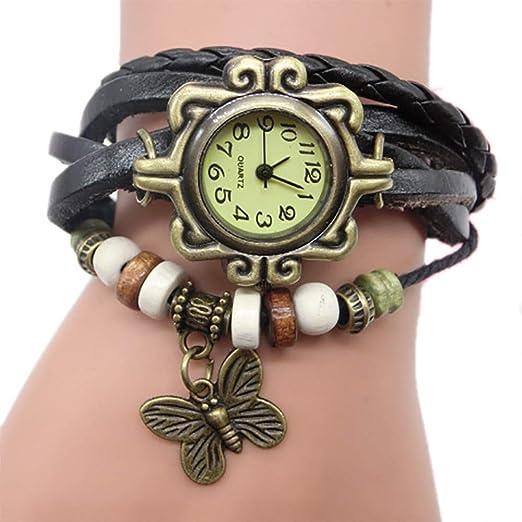 Pulsera del Reloj Retro Estilo Romano Mariposa Colgante Cuarzo Reloj de Pulsera Mujeres Pulsera Vintage BBestseller (Negro): Amazon.es: Relojes