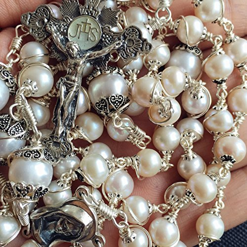elegantmedical HANDMADE Wire Wraped Bali 925 Sterling Silver AAA+ 8-9mm Real Pearl Beads Catholic Rosary NECKLACE Cross crucifix Box by elegantmedical